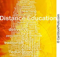 distancia, educación, plano de fondo, concepto