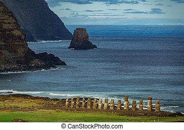 distancia., estatuas, moai, isla, ahu, pascua, tongariki