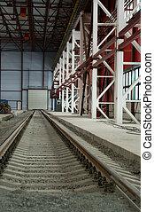 distancia, ferrocarril, yendo, hangar