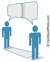 distancia, gente, comunicación, charla, social, a través de