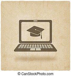 distancia, símbolo, aprendizaje, en línea