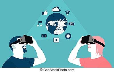 distancia, virtual, largo, comunicación, realidad
