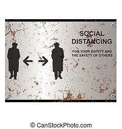 distancing, enferrujado, sinal, social