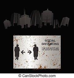 distancing, enferrujado, social, sinal cidade