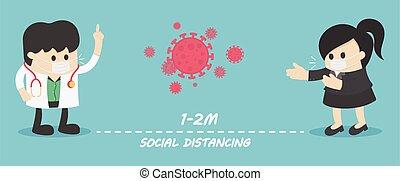 distancing, gens, risque, arrêt, maladie, infection, ...