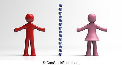 distancing, gente, signo., retener, ilustración, distancia, social, 3d