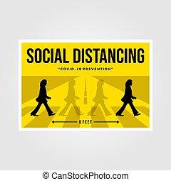 distancing, indonesia, 2019:, vector, beatles, 27, social, minimalista, ilustración, diseño, plano, cartel, banten, inspiración, marzo