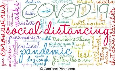 distancing, nuage, social, mot