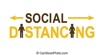distancing, social, concept, lettrage