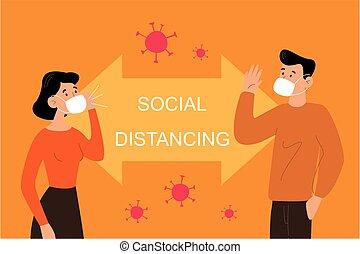 distancing, social, gens