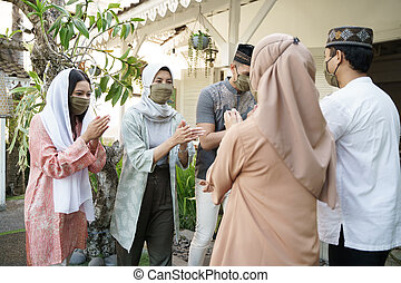 distancing, social, musulmán, mubarak, eid
