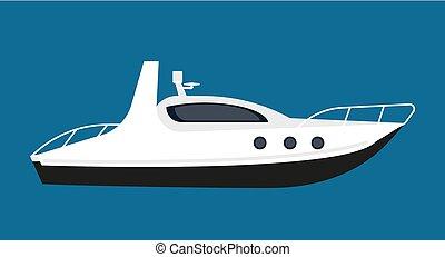 distans, kort, kryssningar, nymodig, isolerat, illustration, vit, båt