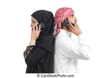 Distant arab couple calling on the phone