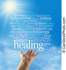 Distant healing concept word cloud