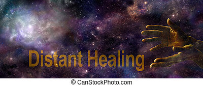 Ethereal outer space background with a nebula on left and a pair of golden open hands on right, with the words Distant Healing along the bottom in gold and copy space
