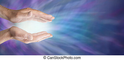 Male healing hands and blue energy website banner