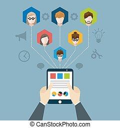 Distant Management Illustration - Distant management concept...