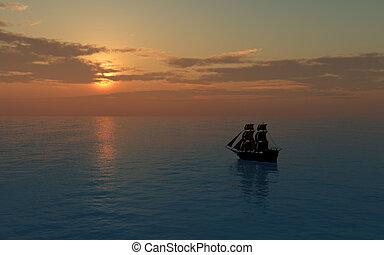 Distant Sailing Ship at Sunset