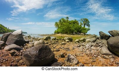 Distant Tropical Island in Thailand from Low Angle...