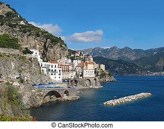 Distant view of Atrani on Amalfi coast - Panoramic view of...