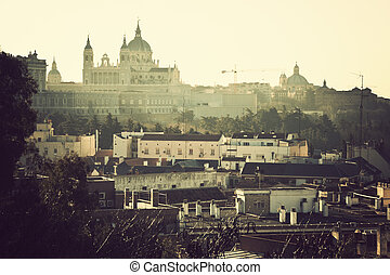 Distant view of Cathedral Nuestra Senora de la Almudena