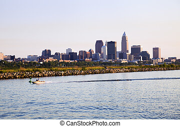 Distant view of downtown Cleveland