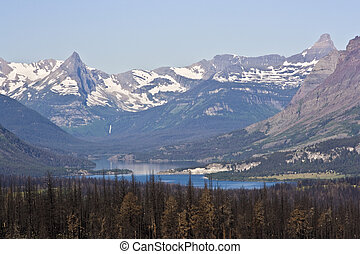 Distant waterfall - Glacier National Park;