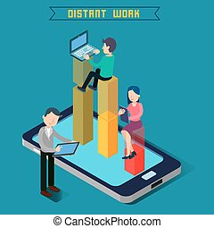 Distant Work. Team Work. Modern Technology. Remote Work. Isometric People. Isometric Concept. Man with Laptop. Woman with Tablet. Man with Tablet. Vector illustration