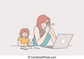 Distant working with child, freelance and stay at home concept. Tired stressed young woman mother trying to work from home at laptop with crying baby toddler vector illustration