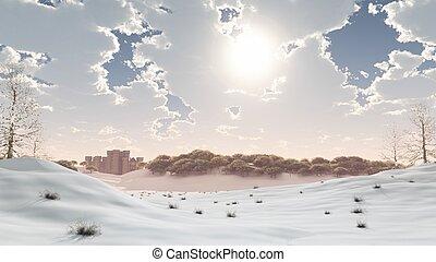 distante, castello, in, il, inverno, neve