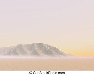 distante, deserto, dunas