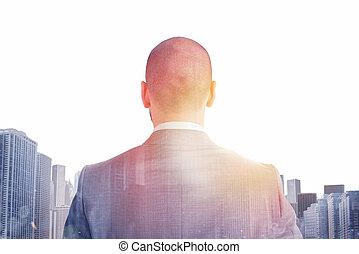 distante, homem negócios, futuro, olha