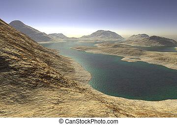 distante, lago, alba