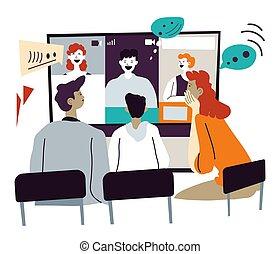 distante, o, en línea, reunión, socios, videoconferencia, ...