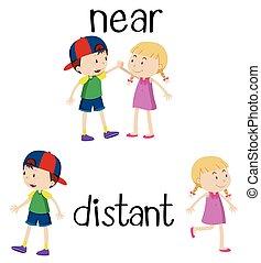 distante, parole, opposto