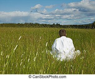 distante, pessoa, meditação, civilização, afastado