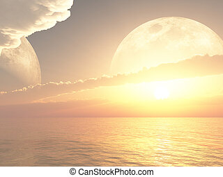 distante, planeta, bonito, afastado, amanhecer, ou, pôr do sol