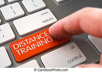 distanza, addestramento, button., mano, dito, premere, 3d.