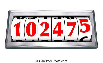 distanza miglia, età, contachilometri, numeri, veicolo,...