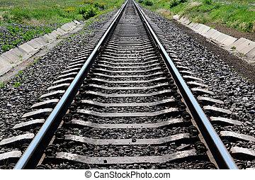 distanza, piste, stiramento, ferrovia