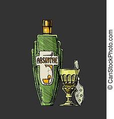 distillato, alcohol., bottiglie, bevanda