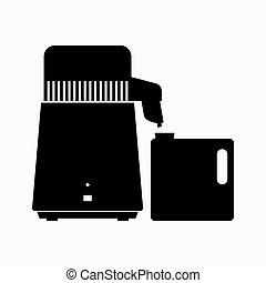 distillazione, acqua, disinfezione, apparato
