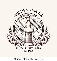 distillerie, emblème, whisky