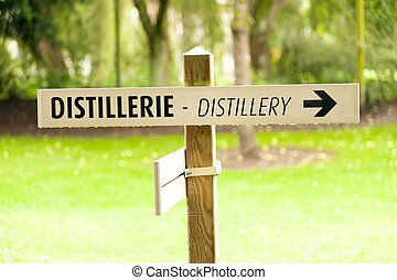 Distillery sign at Calvados producer, Normandy, France