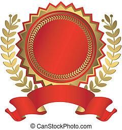 distinção, fita, (vector), dourado, vermelho