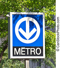 Distinctive signage for the Montreal Metro subway system