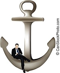distinguished person sitting over a navigation anchor - ...