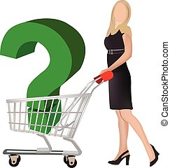 distinguished woman with shopping cart wonders