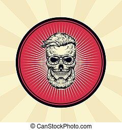 distintivo, adesivo, cranio, vendemmia, segno, vettore, hipster