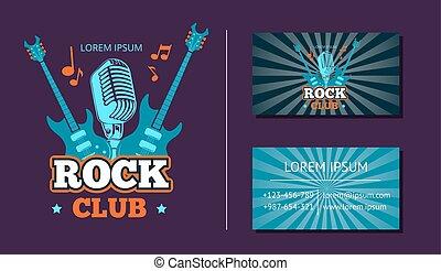 distintivo, affari, club, vendemmia, emblema, vettore, musica, logotipo, fondo, roccia, logotipo, sunburst, scheda, retro